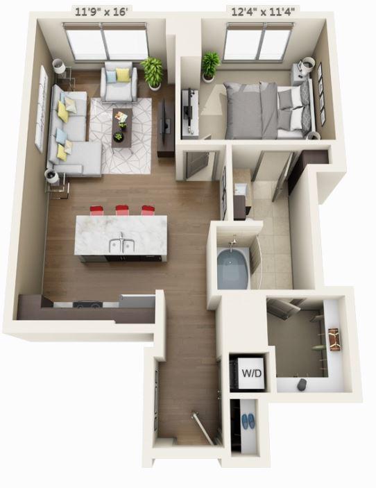 1 bedroom Waterfront